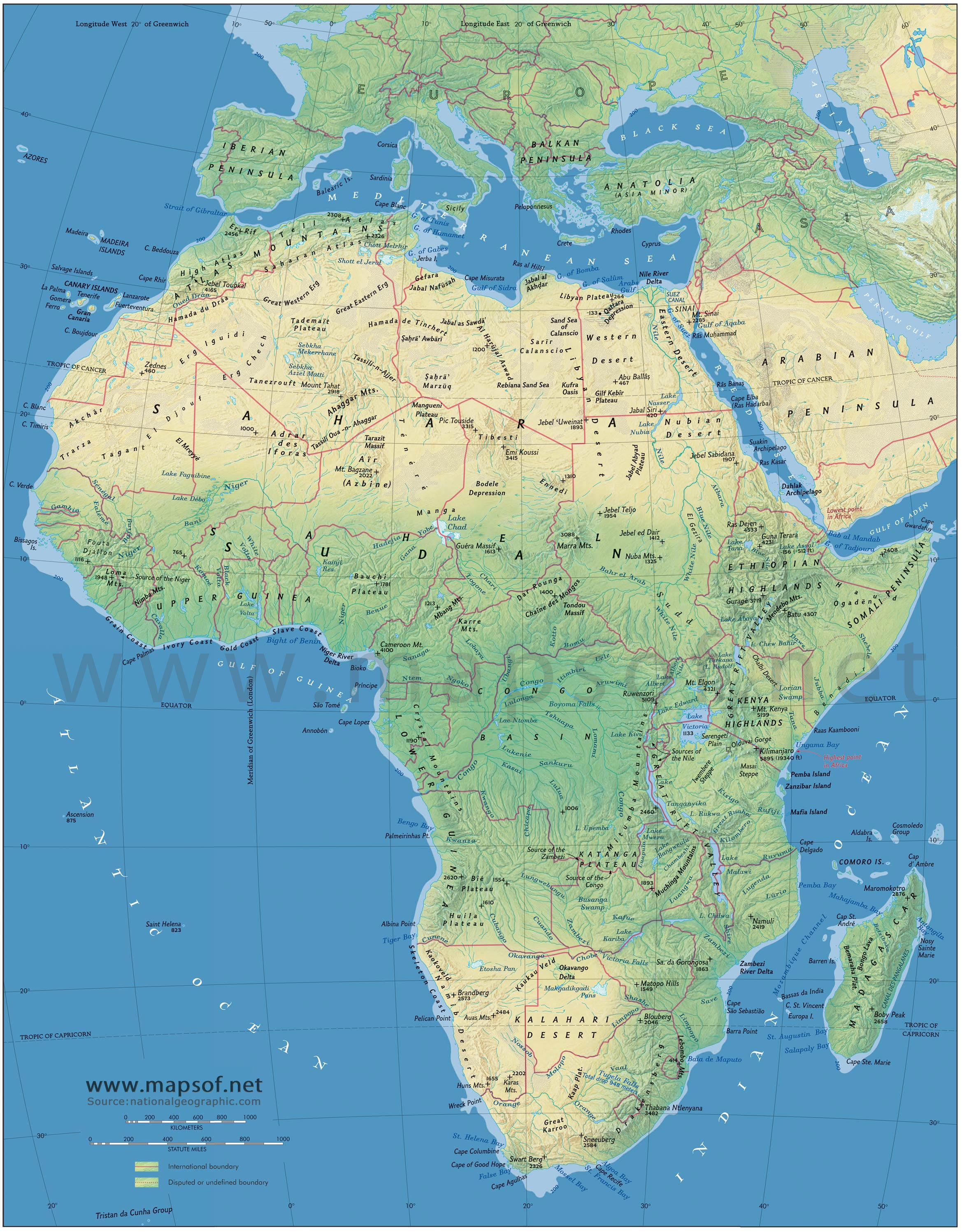 Africa Physical Map 1
