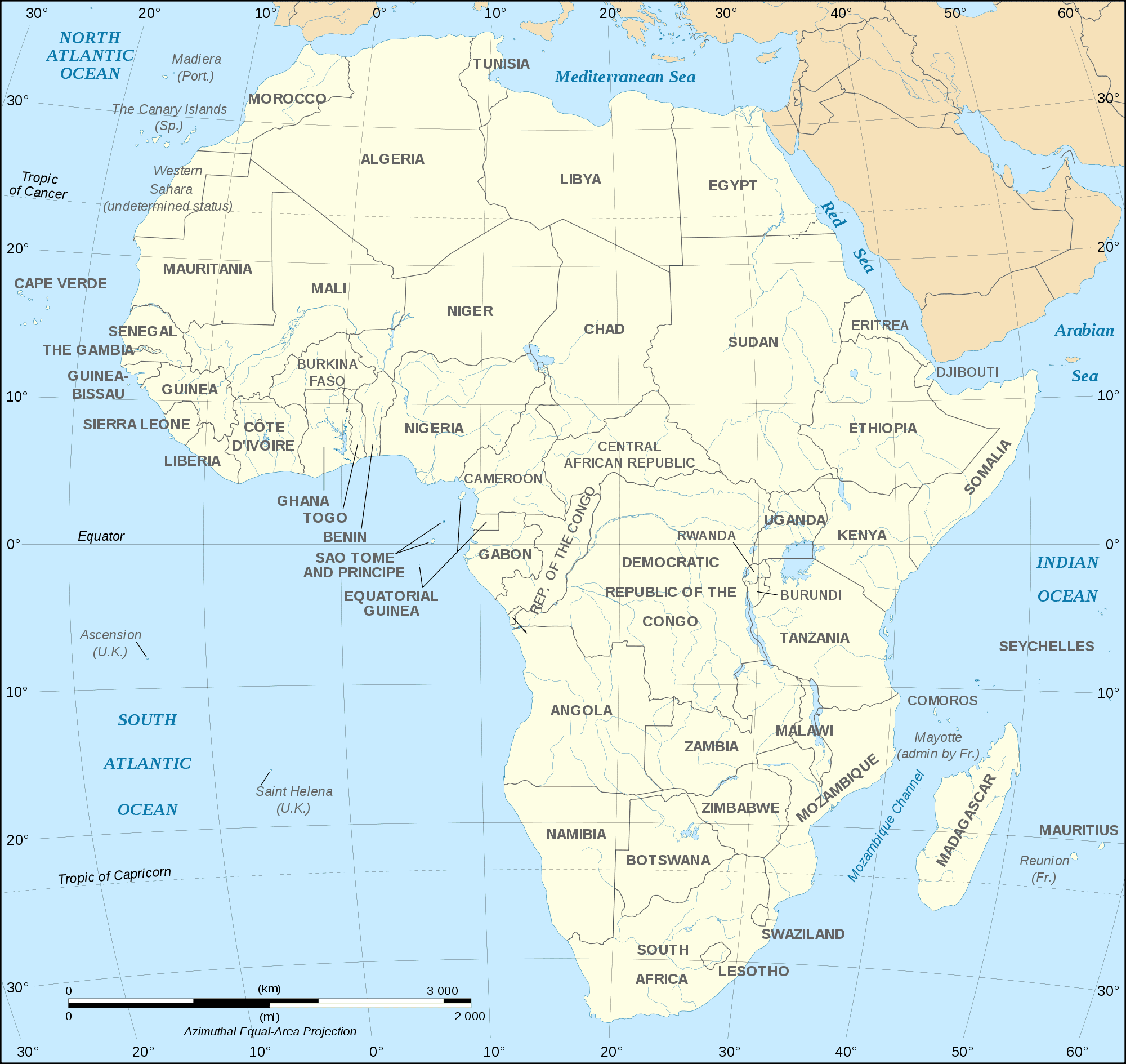 African Continent Countries Map