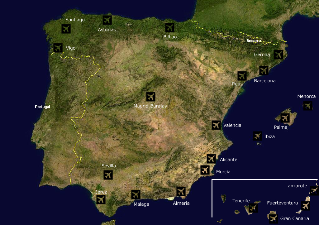 Airports Spain Satellite Map