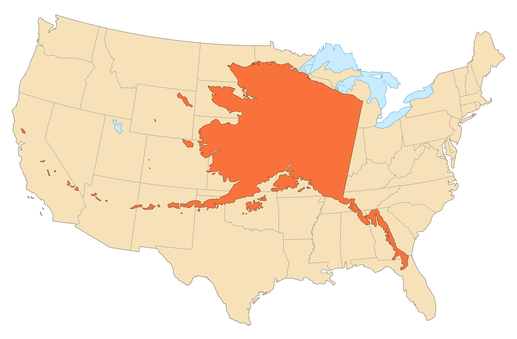 Alaska Area Compared To Conterminous Us