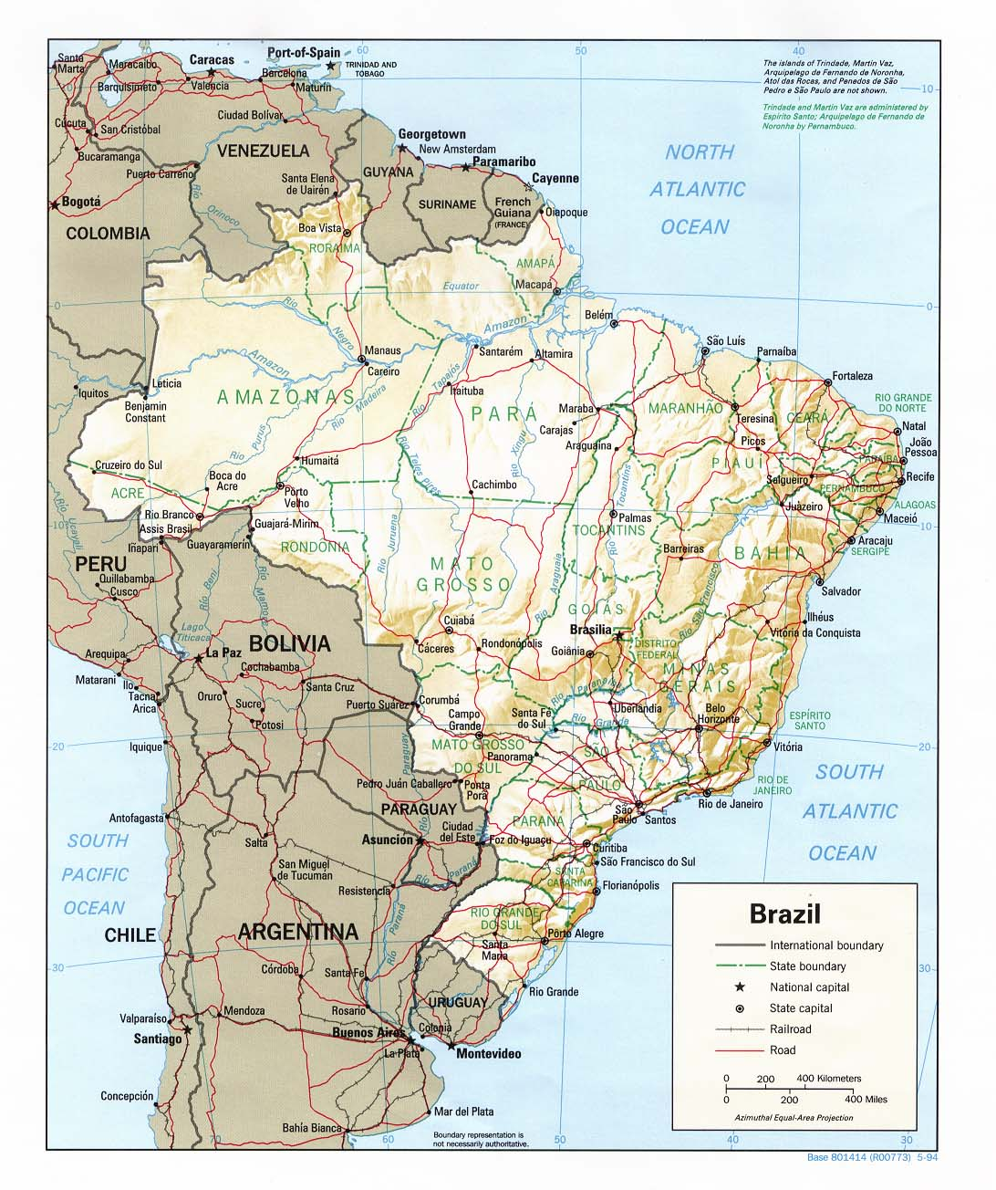 Brazil Shading Relief Map