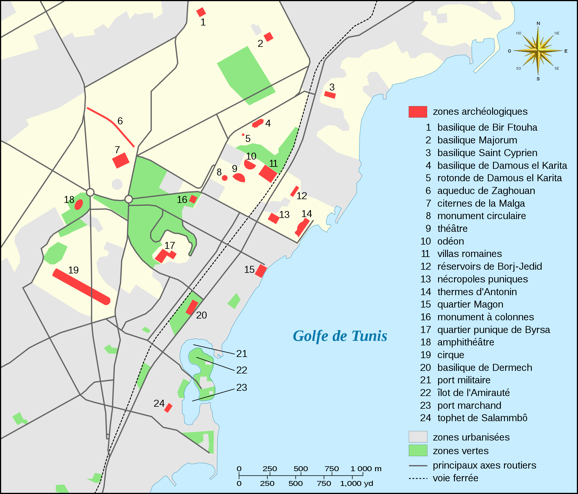 Carthage Archaeological Sites Map Fr