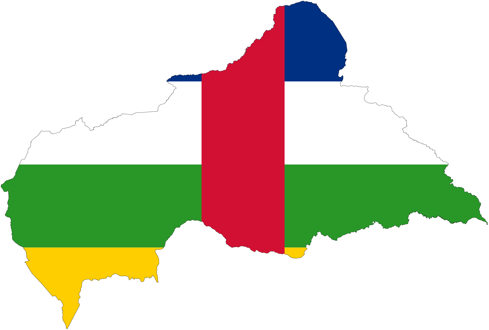Central African Republic Flag Map