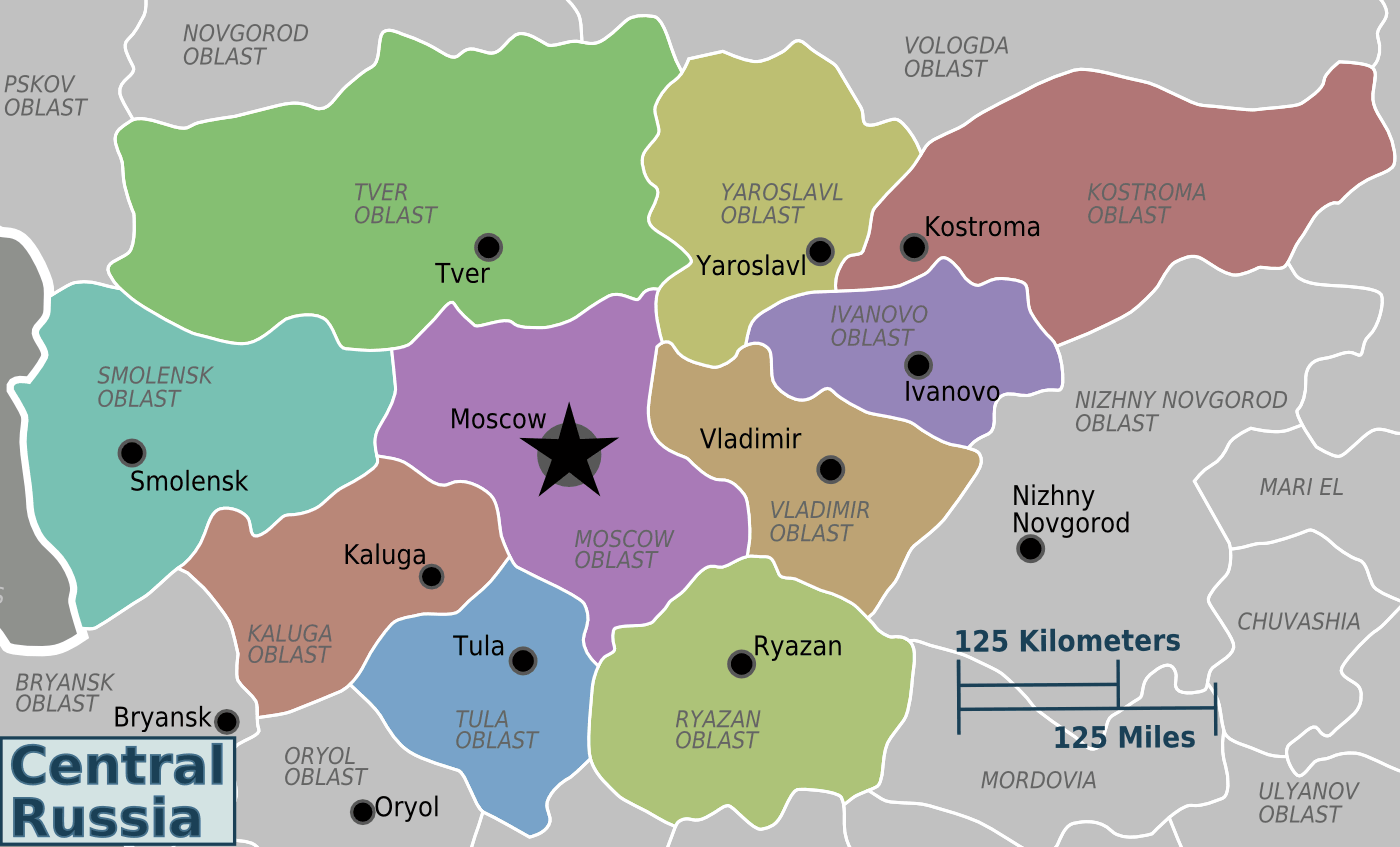 Central Russia Regions Map