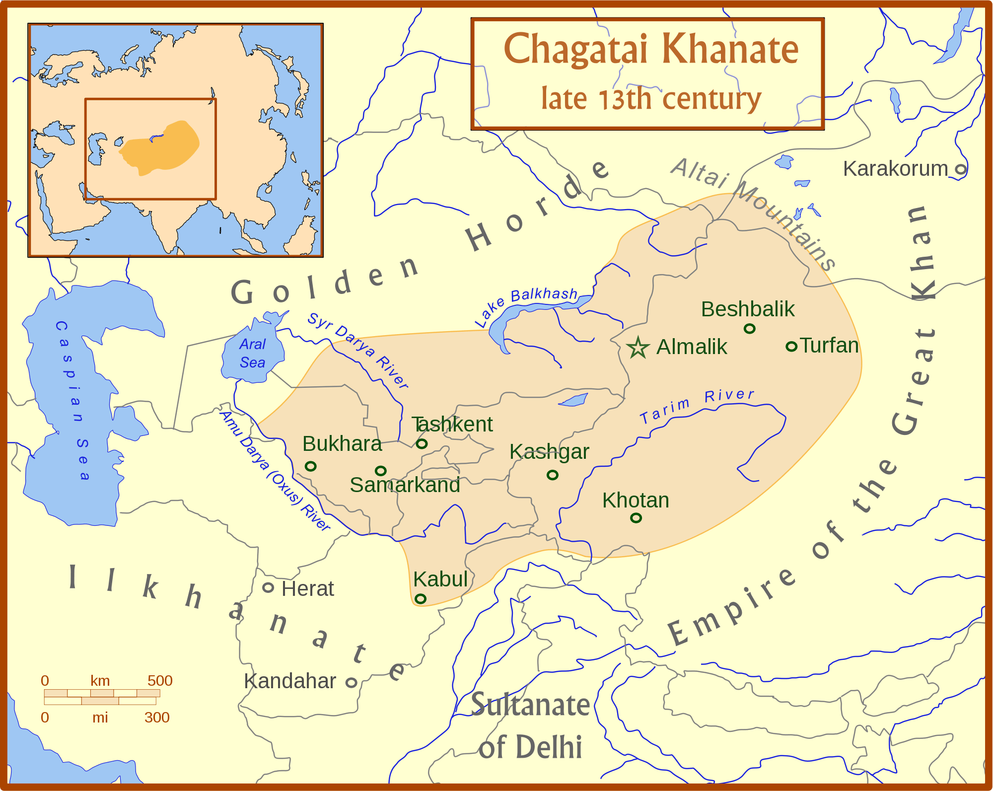 Chagatai Khanate Map