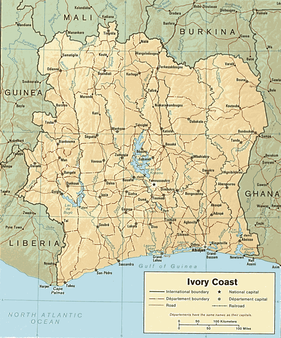 Cote D'ivoire Country Map