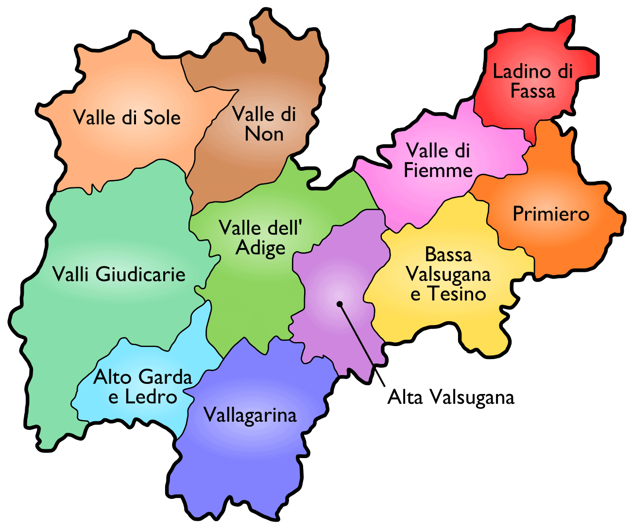 Districts Map of Trento