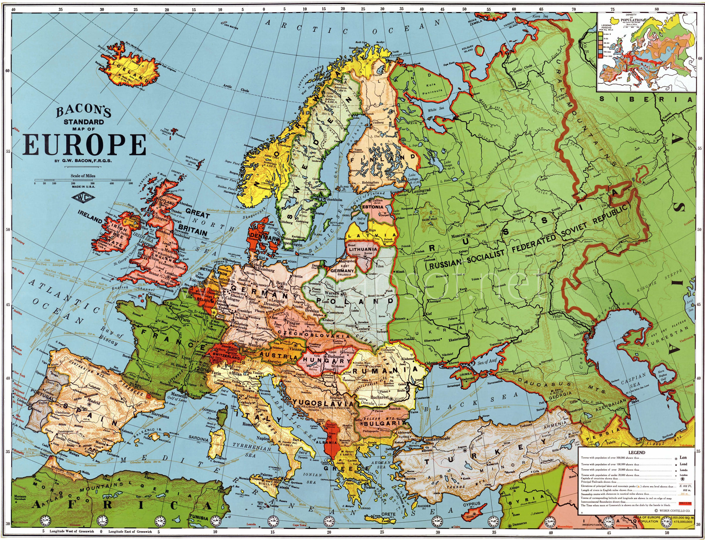 Europe Old Map (1923)