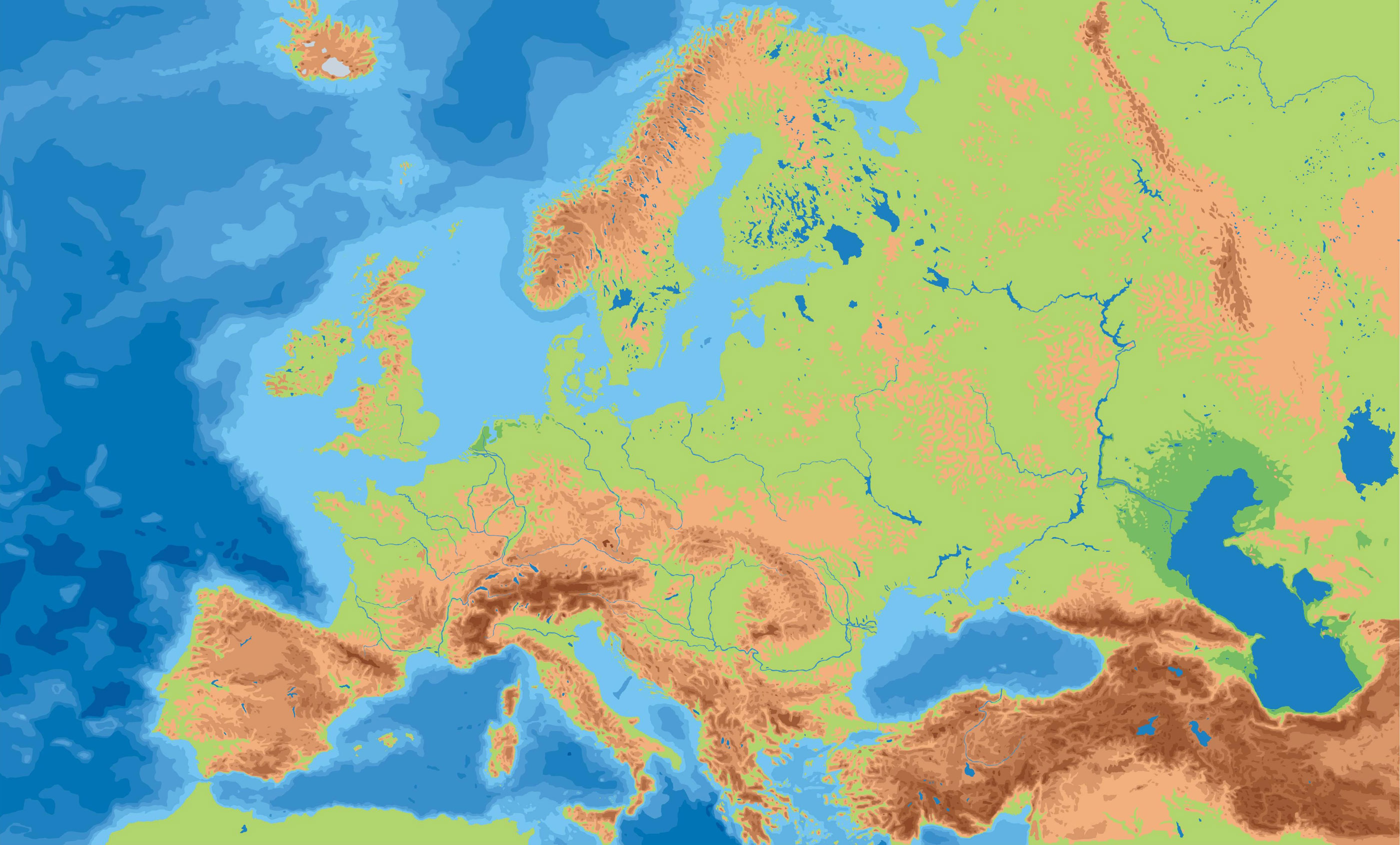 Europe Physical Outline Map