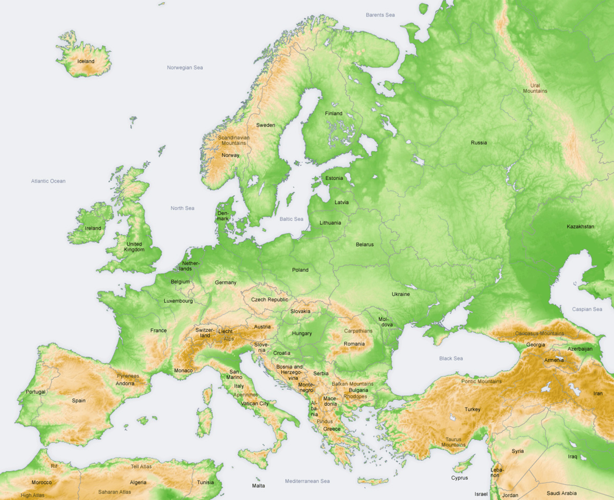 Europe Topography Map