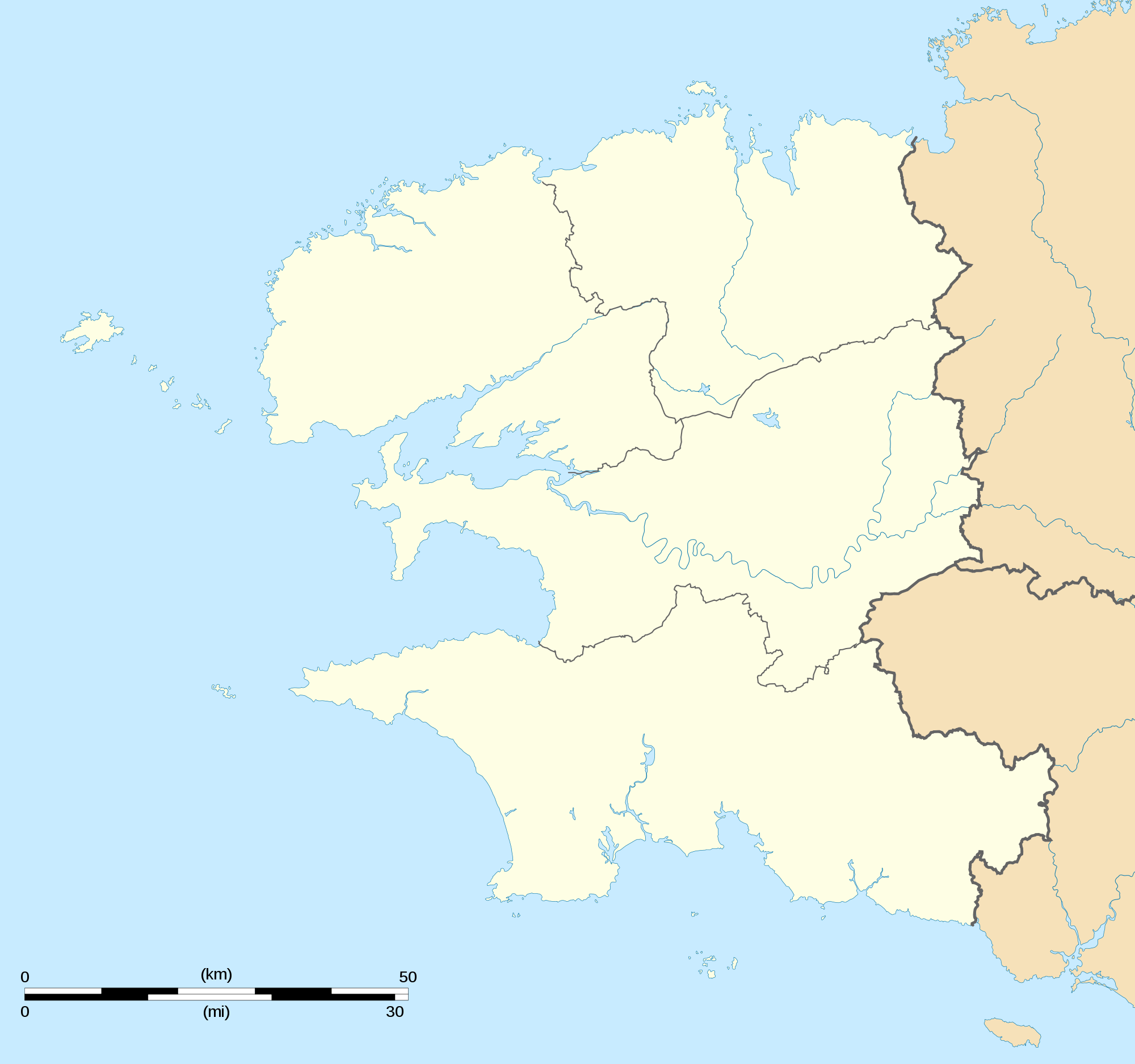 Finistere Department Location Map