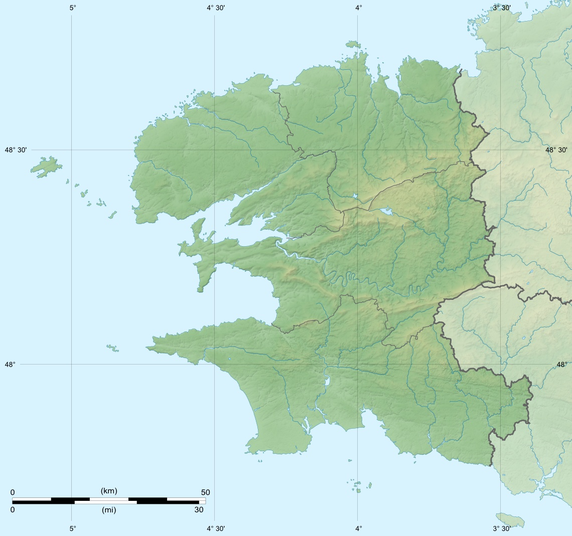 Finistere Department Relief Location Map