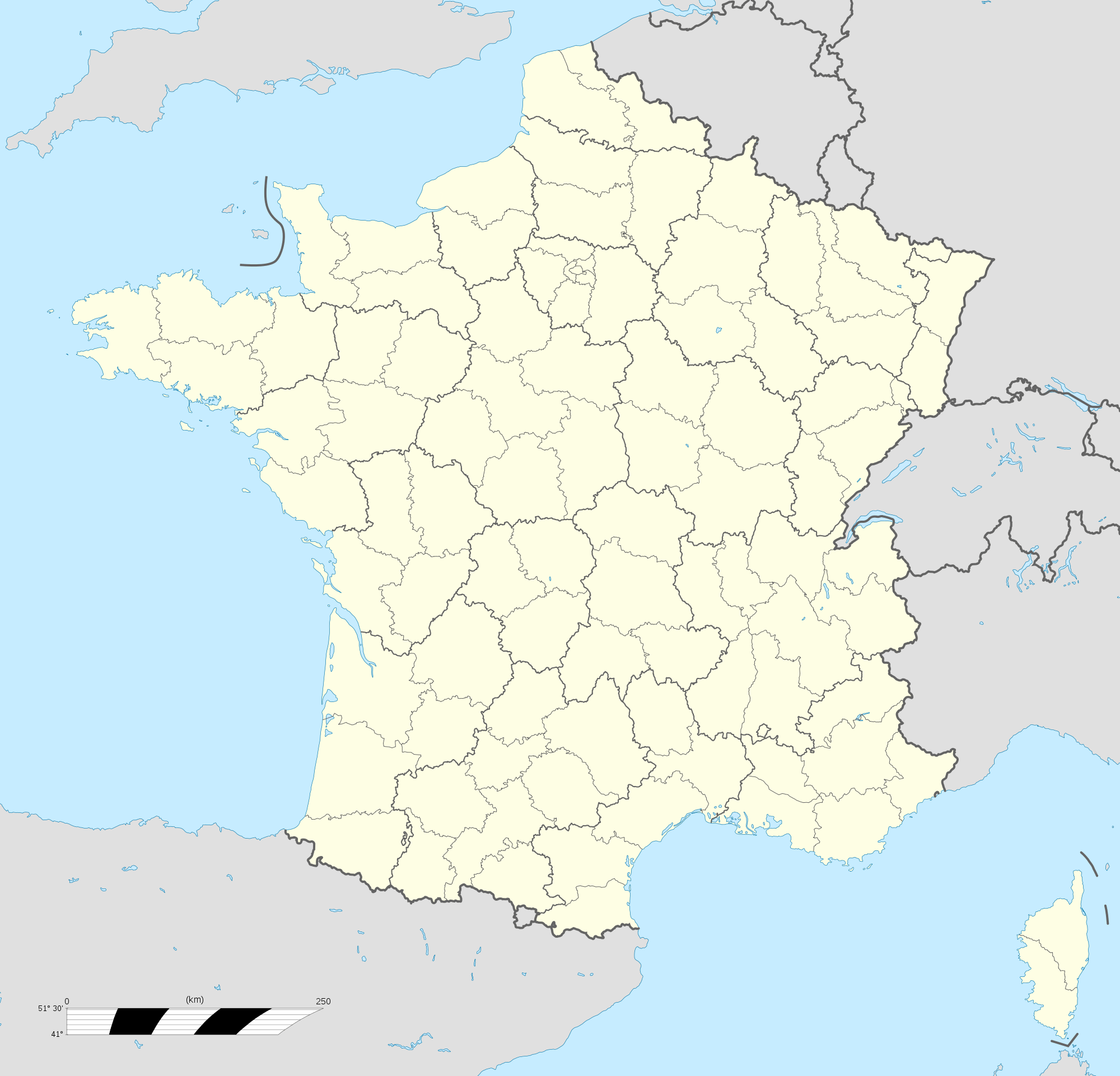 France Location Map Regions And Departements