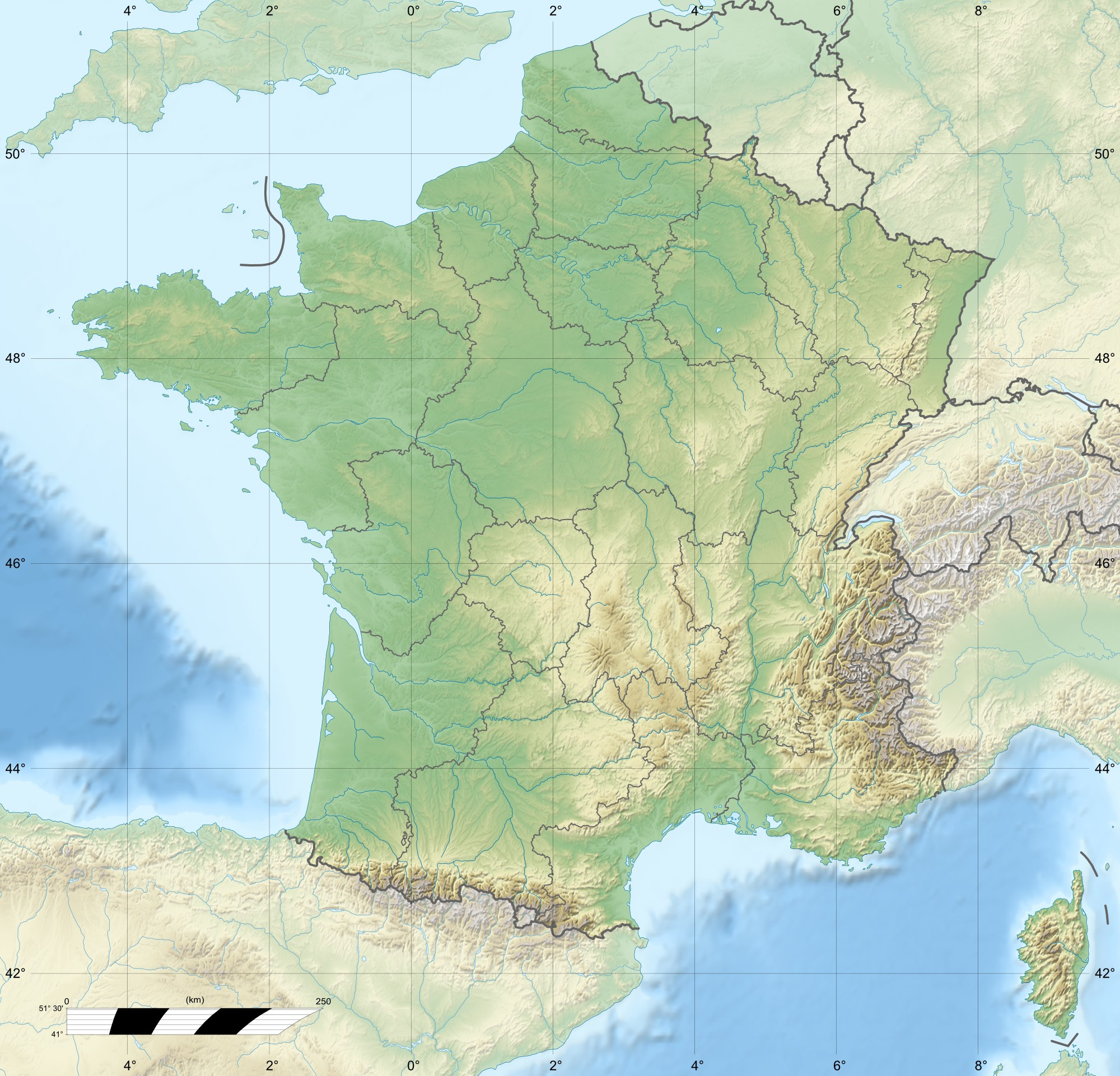 France Relief Map 1