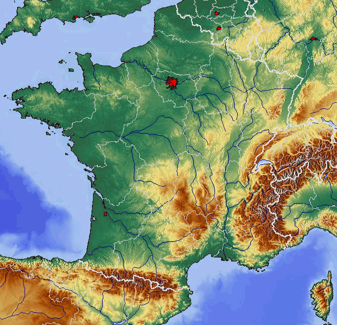 France Relief Map