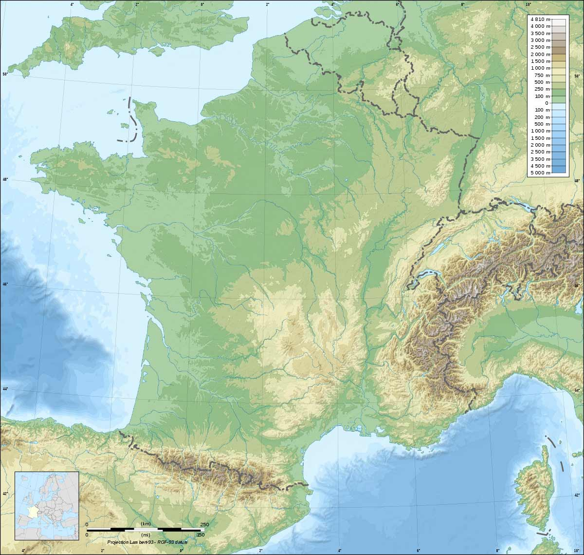 France Topographic Blank Map