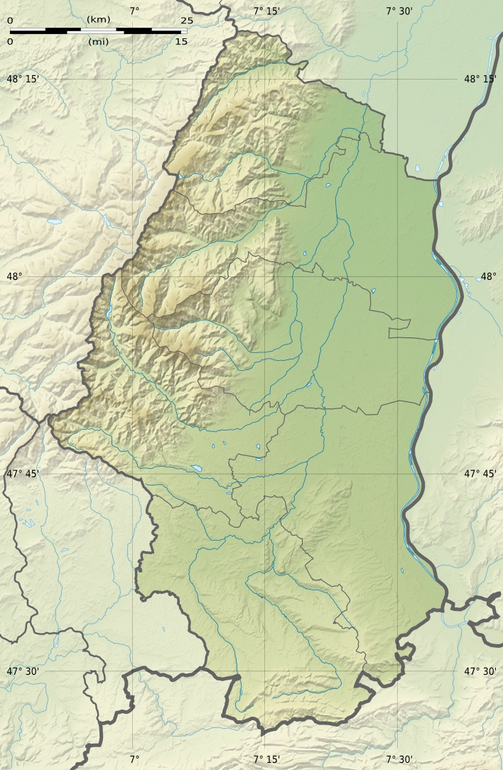 Haut Rhin Department Relief Location Map