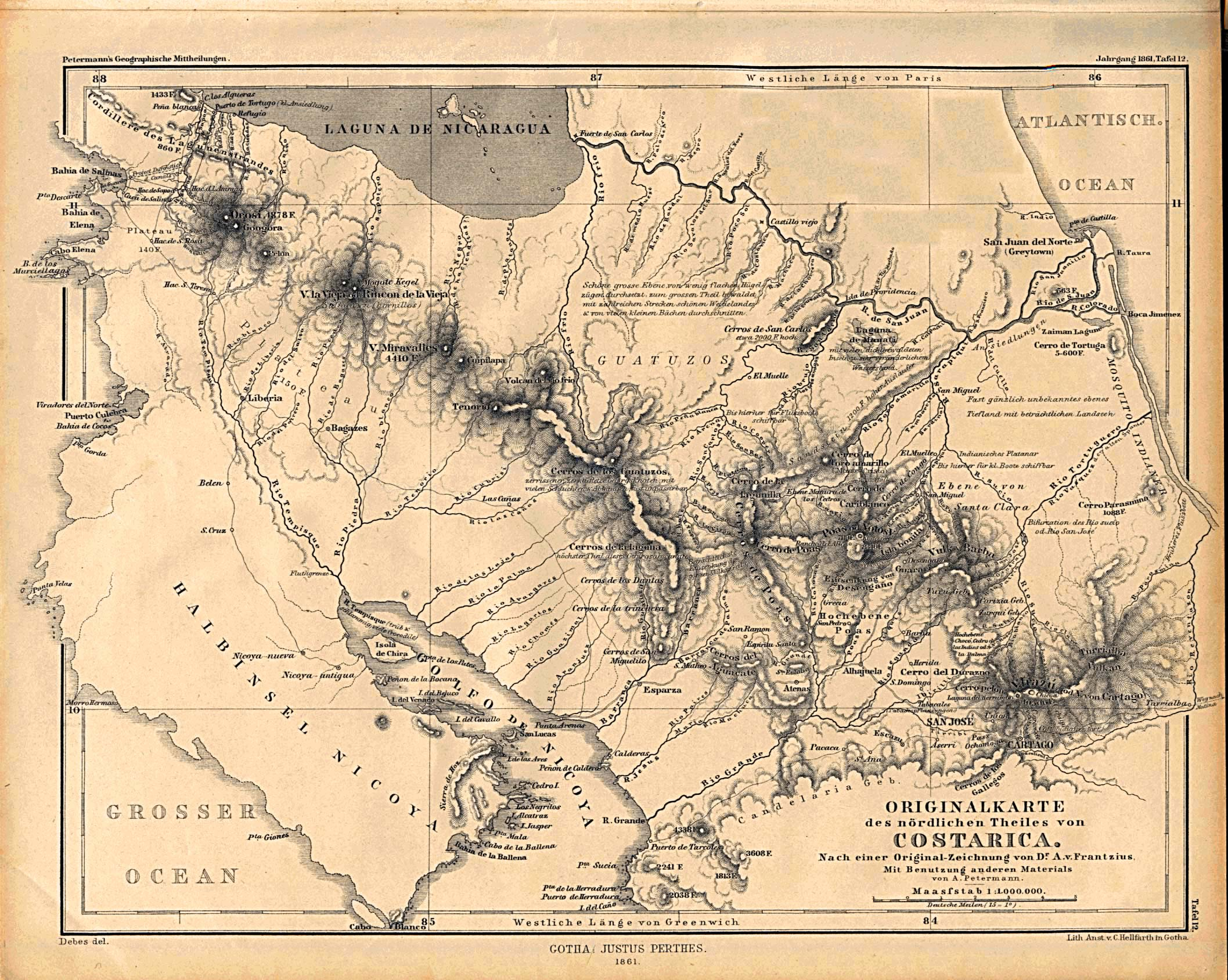 Historical Map of Costa Rica From 1861