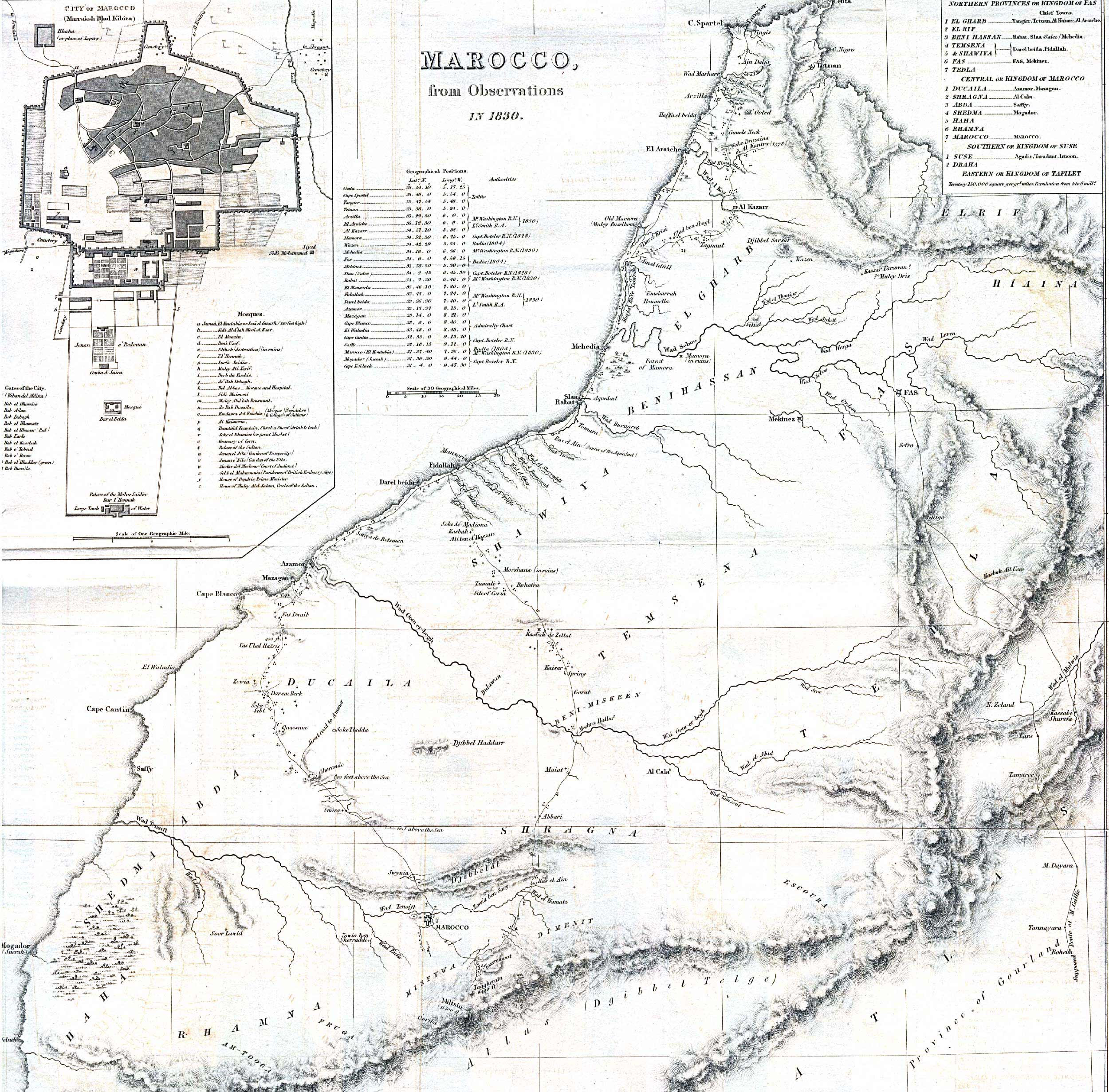 Historical Map of Morocco 1830