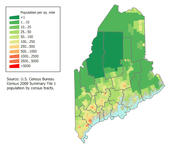 Maine Population Map