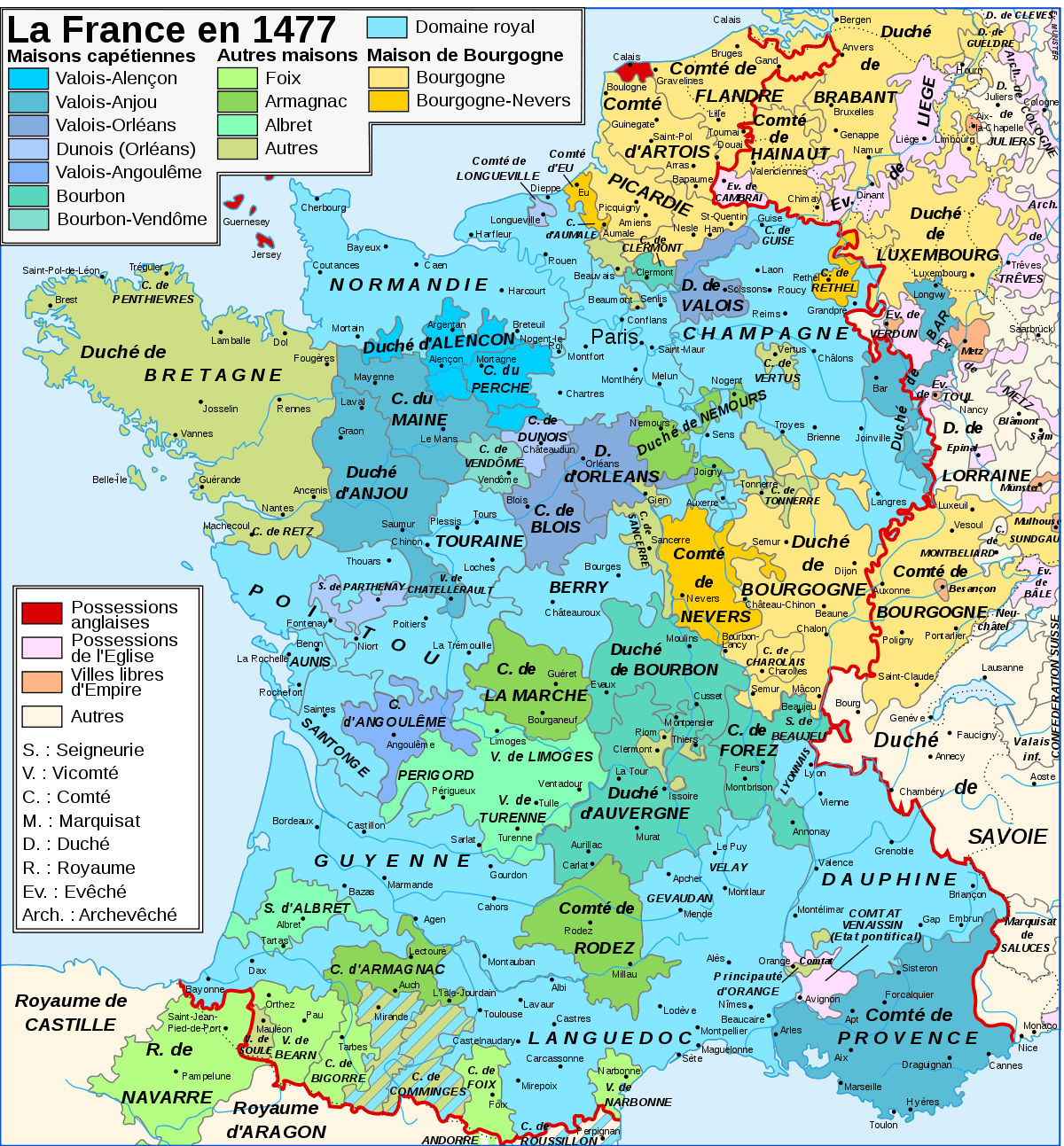 Map France In 1477