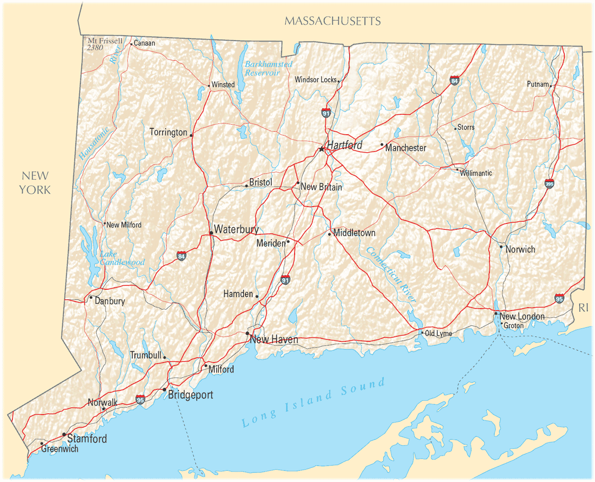 Map of Connecticut Na Cropp