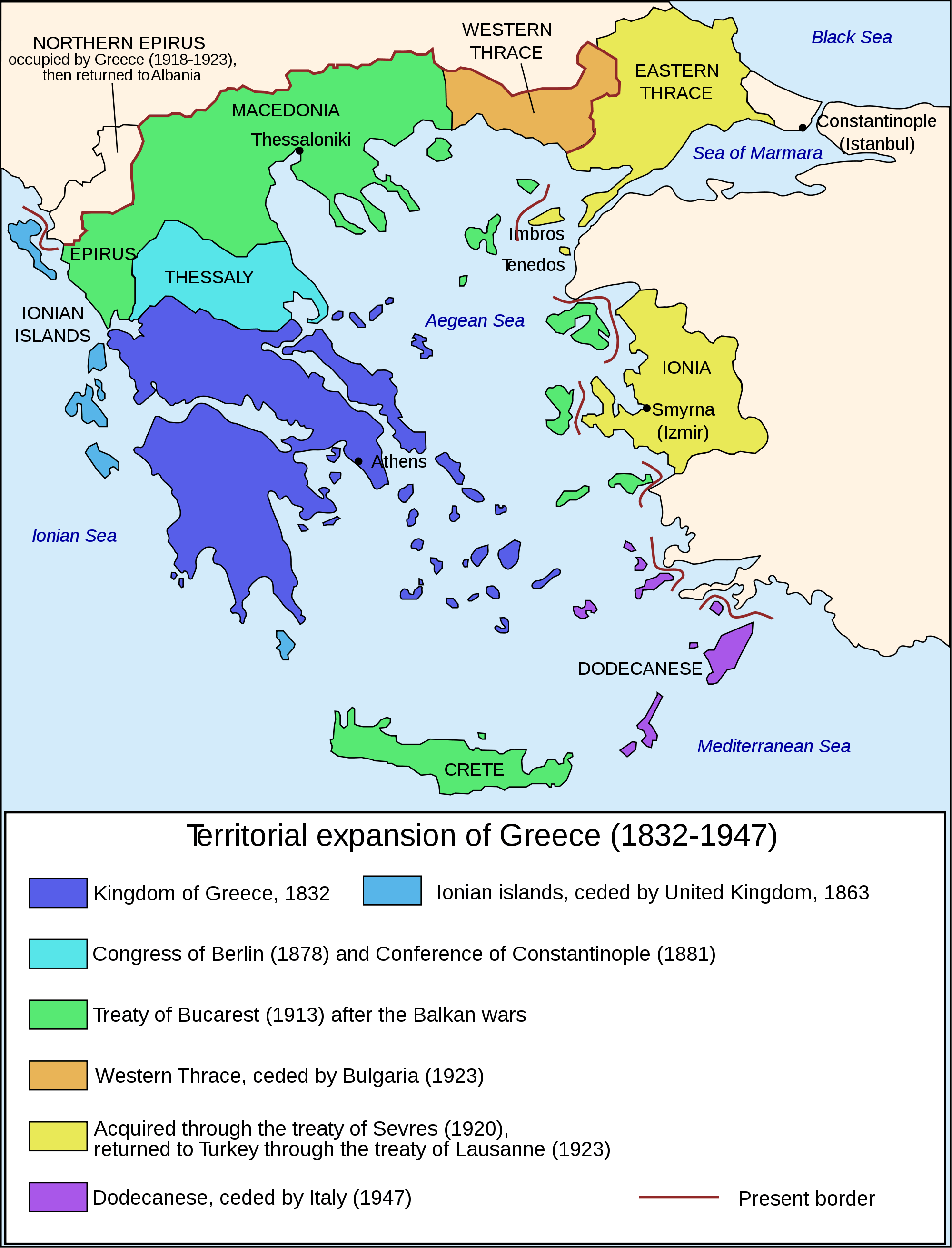 Map of Greece Expansion 1832 1947