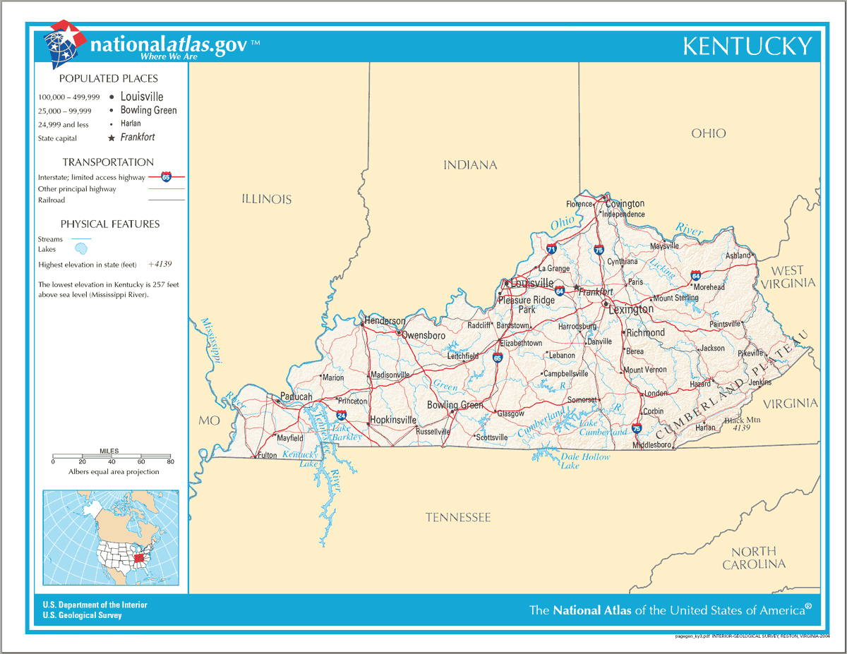Map of Kentucky Na 1