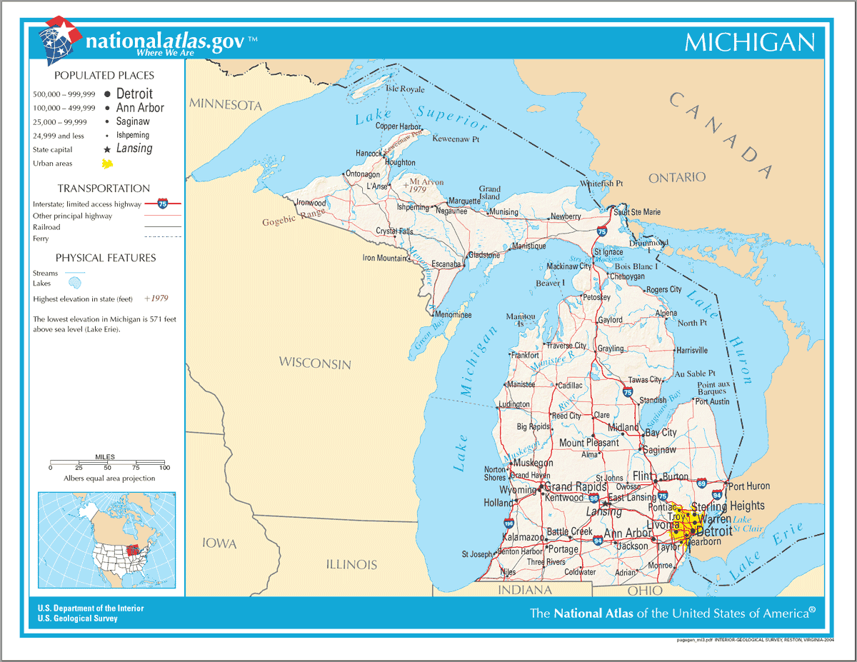 Map of Michigan Na