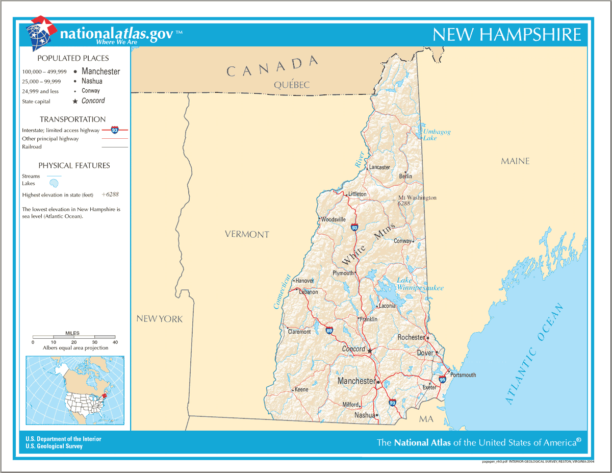 Map of New Hampshire Na