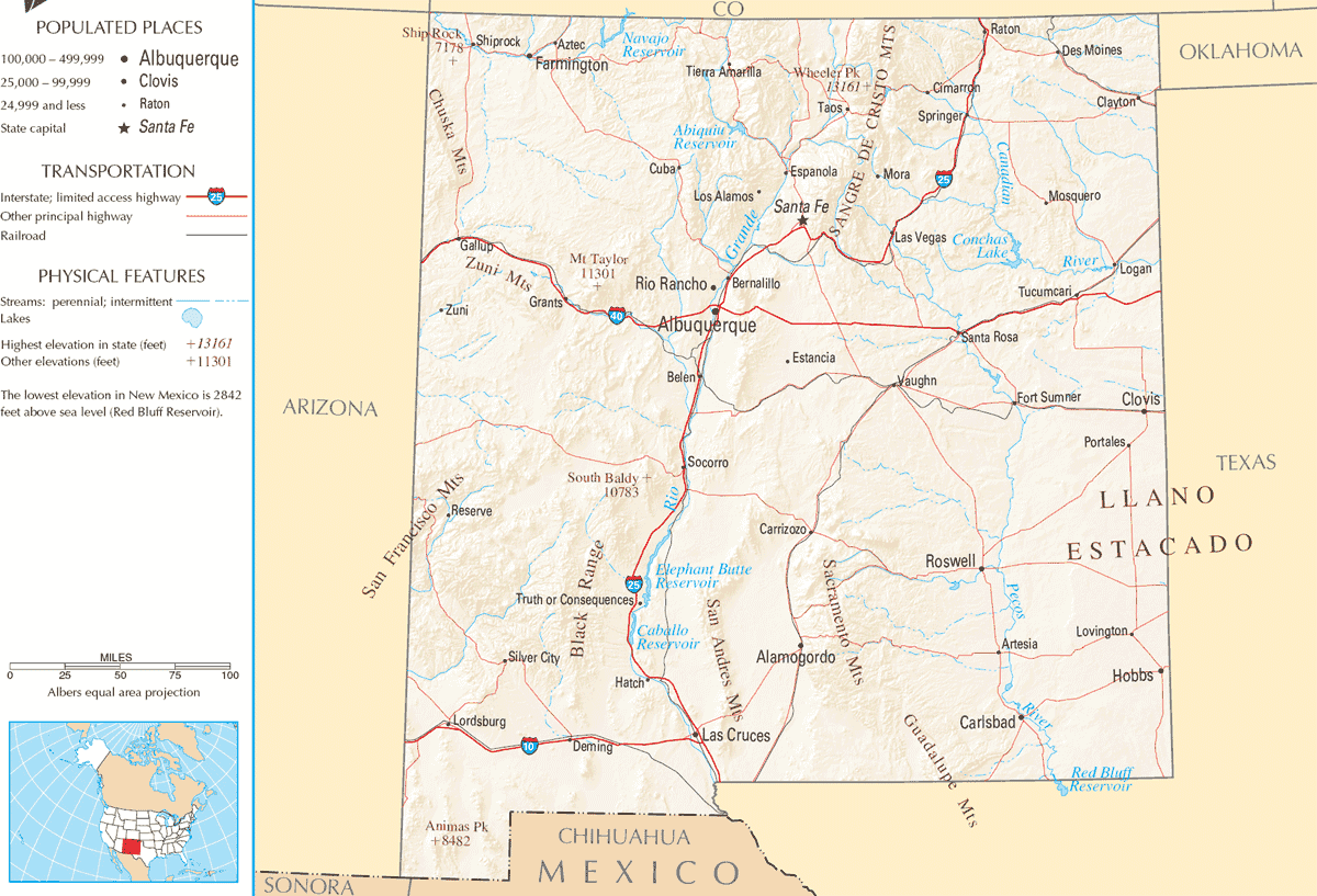 Map of New Mexico Na