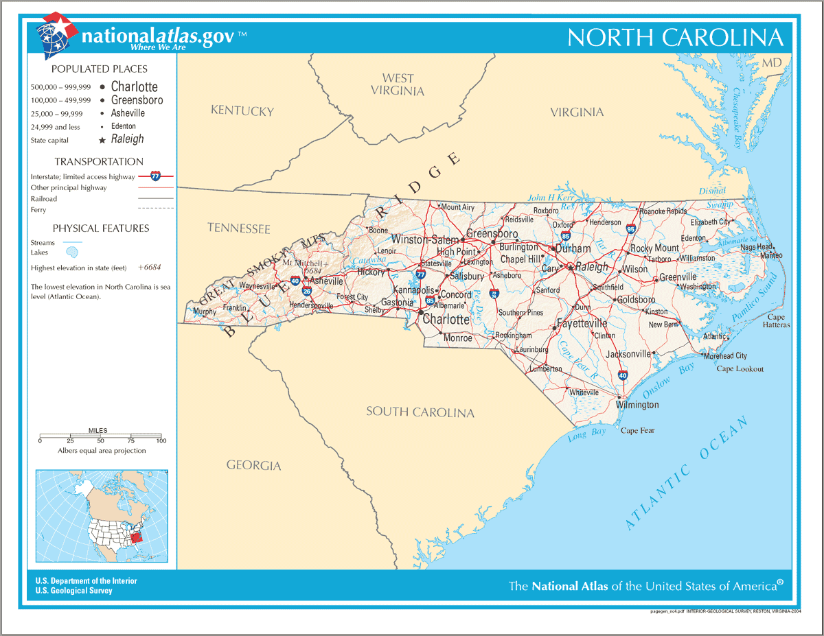 Map of North Carolina Na
