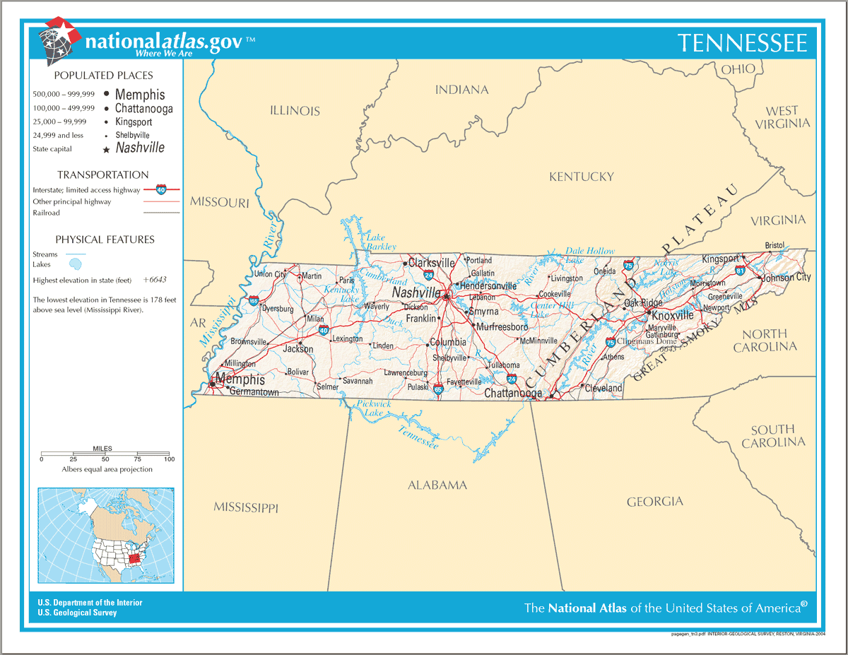Map of Tennessee Na