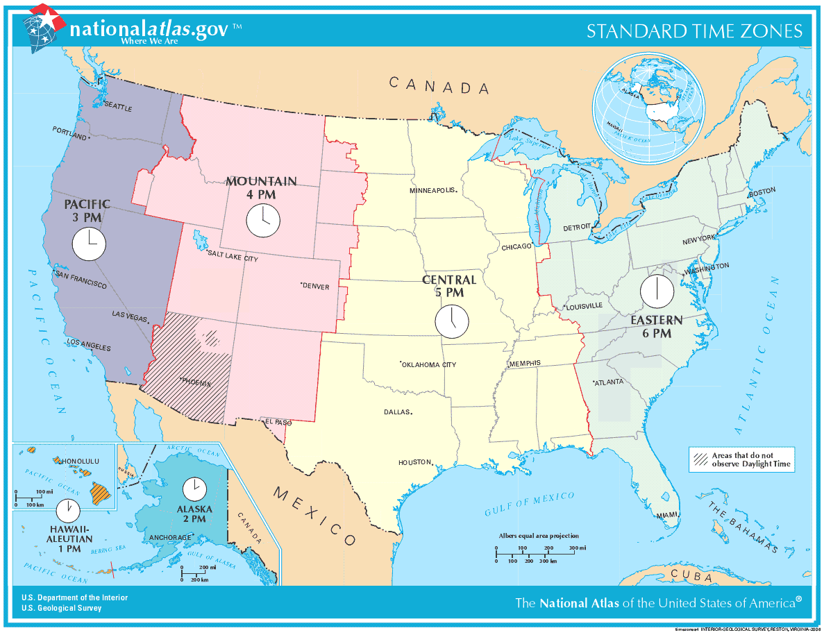 Map of Time Zones Usa