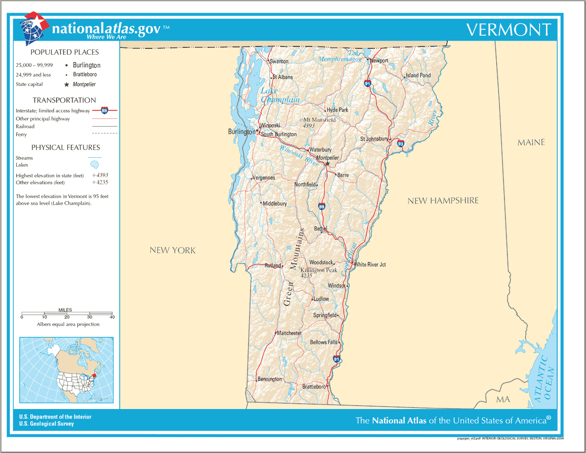 Map of Vermont Na