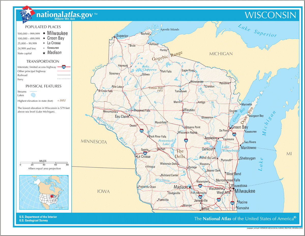 Map of Wisconsin Na