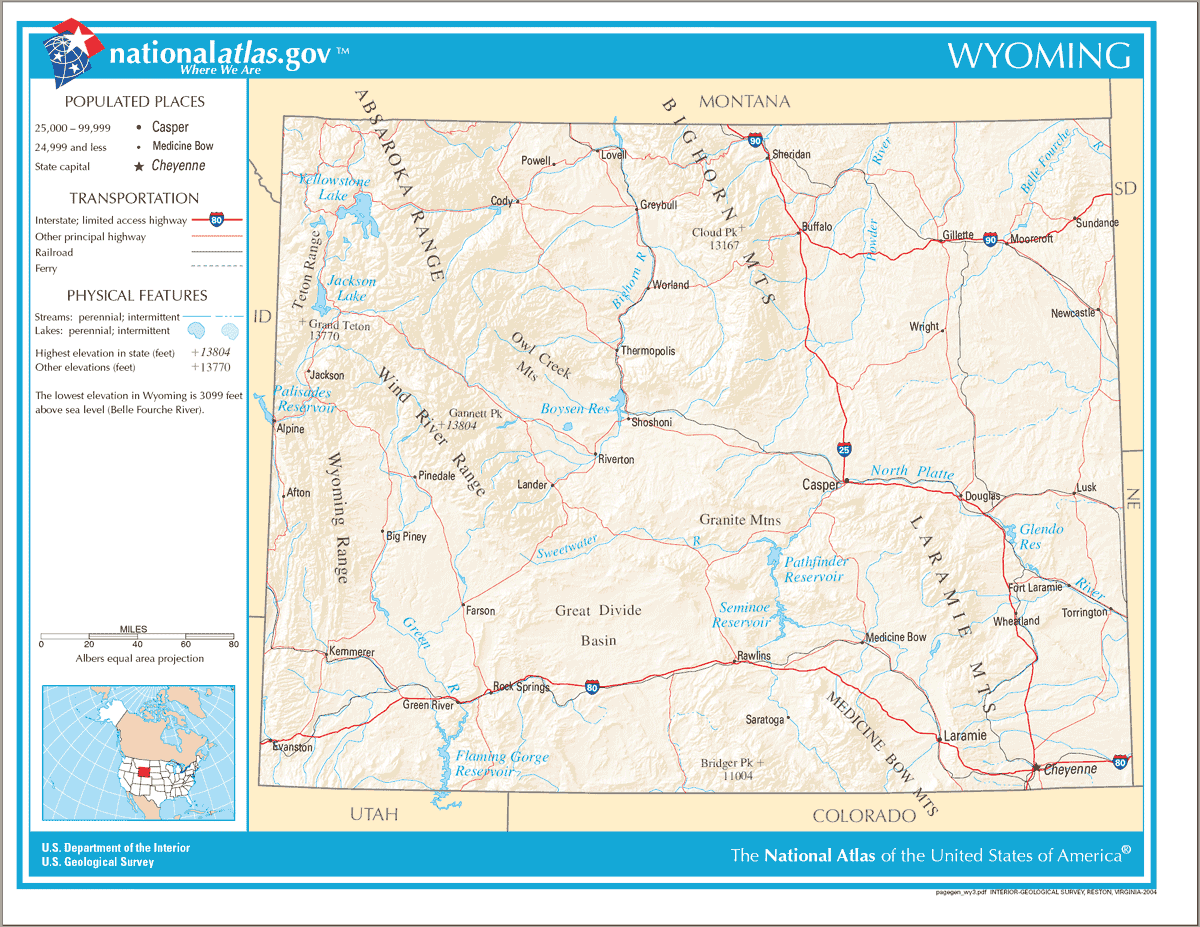 Map of Wyoming Na