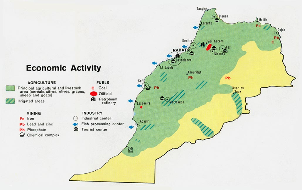 Map of the Economic Activity of Morocco 1973