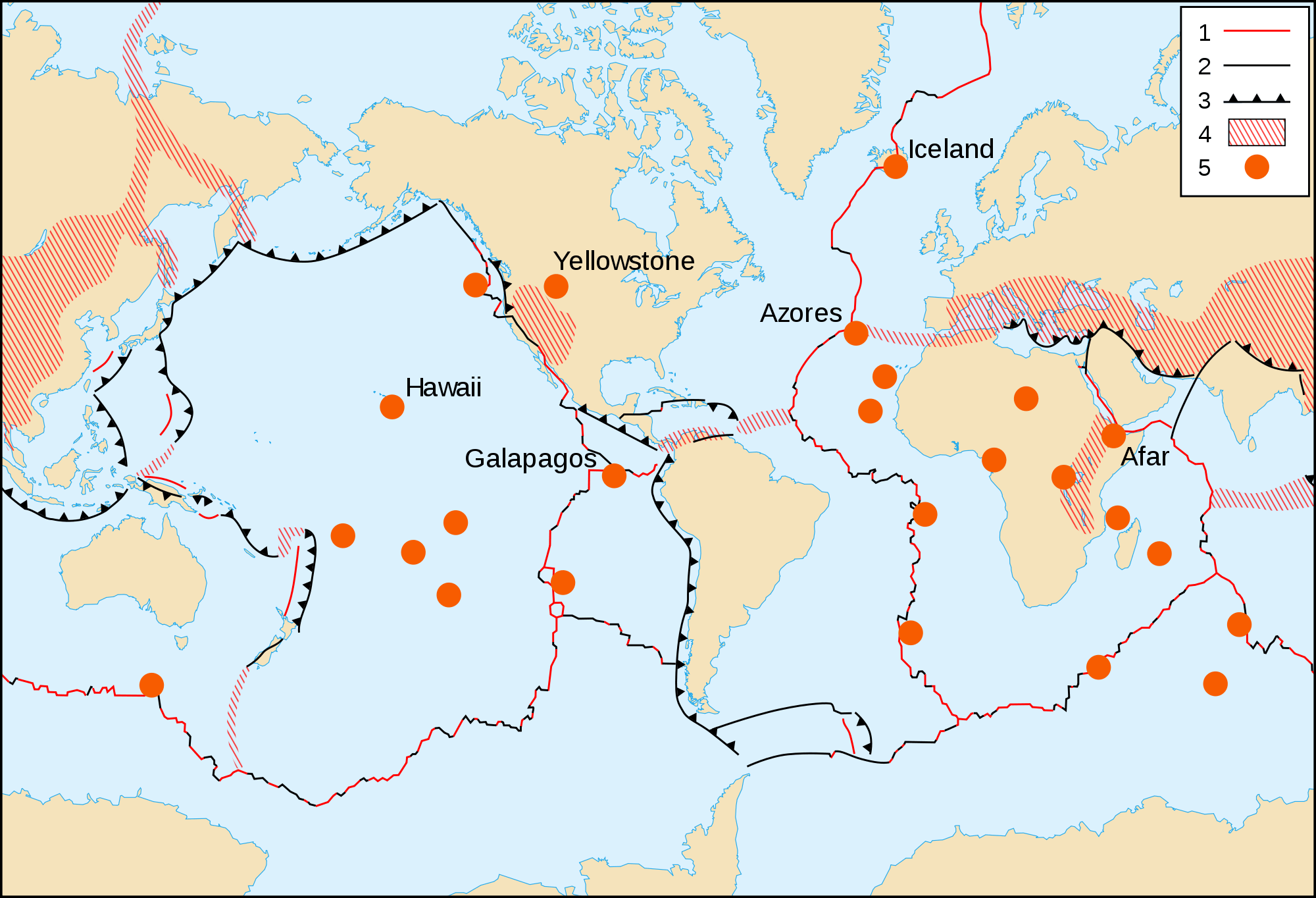 Map of the Tectonic Hotspots