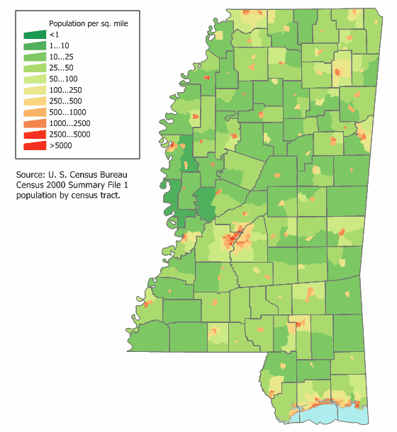Mississippi Population Map