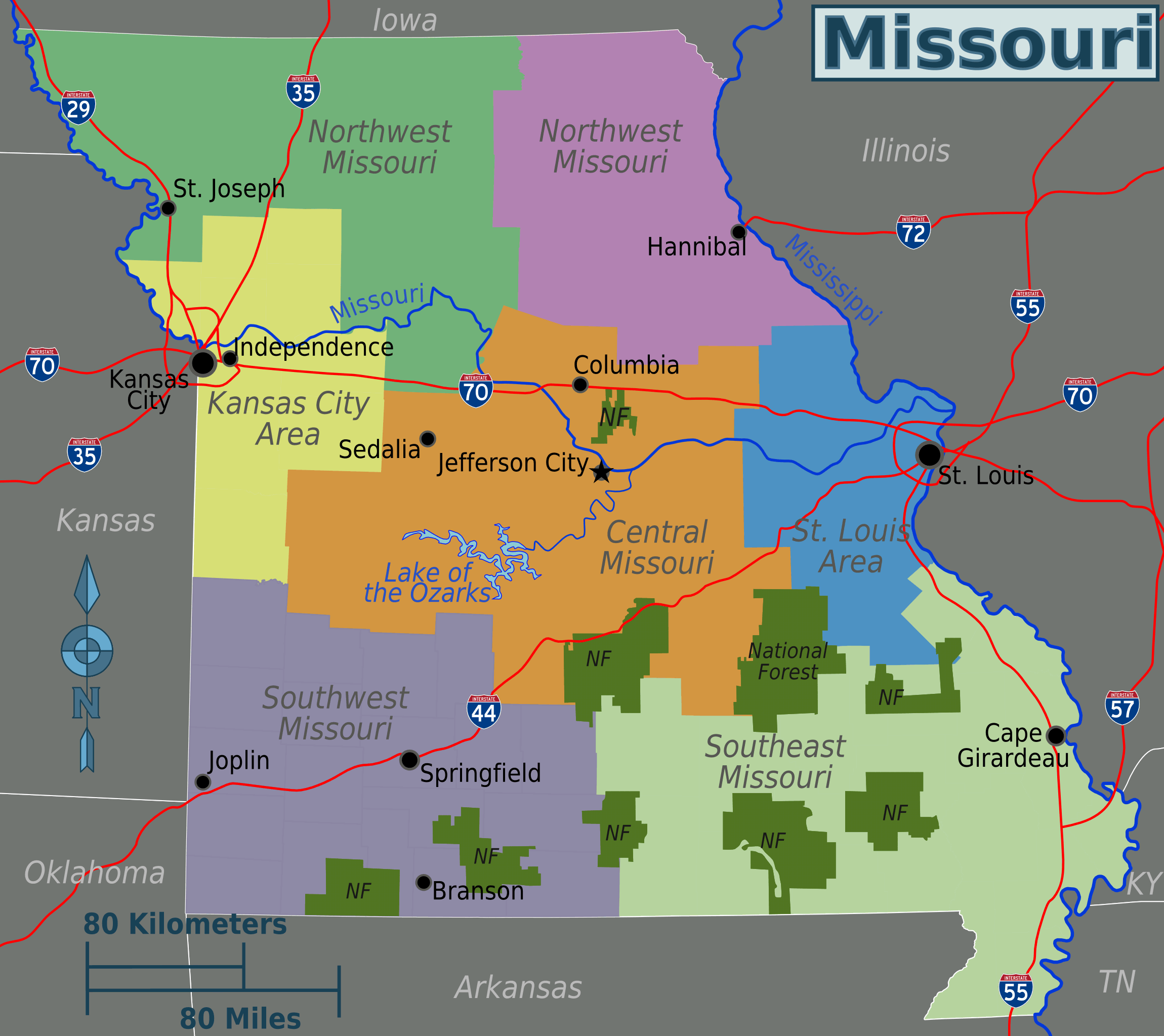 Missouri Regions Map