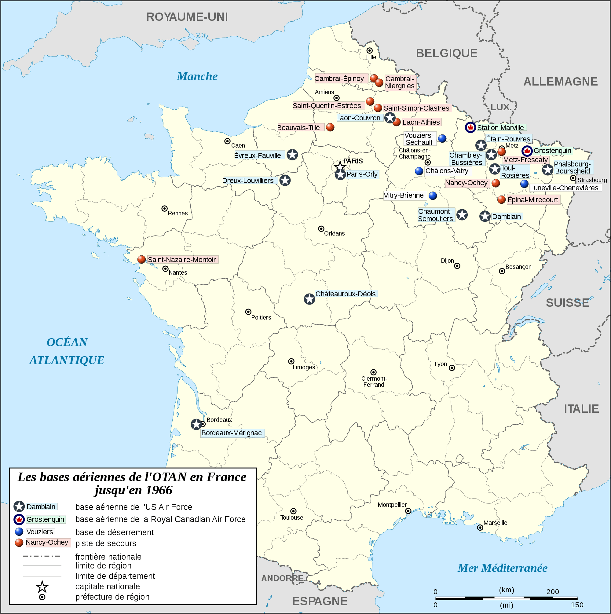 Nato Airbases In France Map Fr To 1966