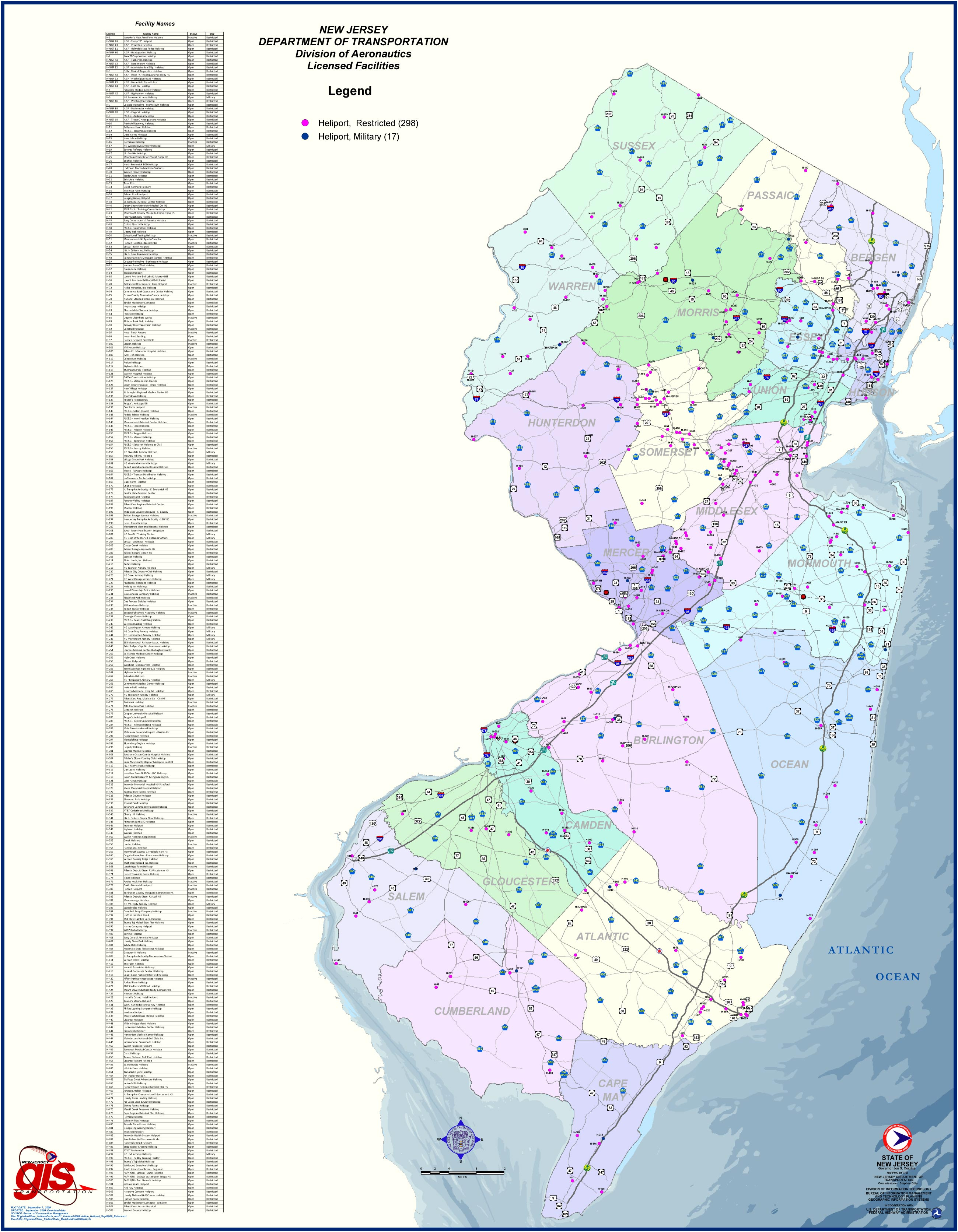 New Jersey Heliports Map