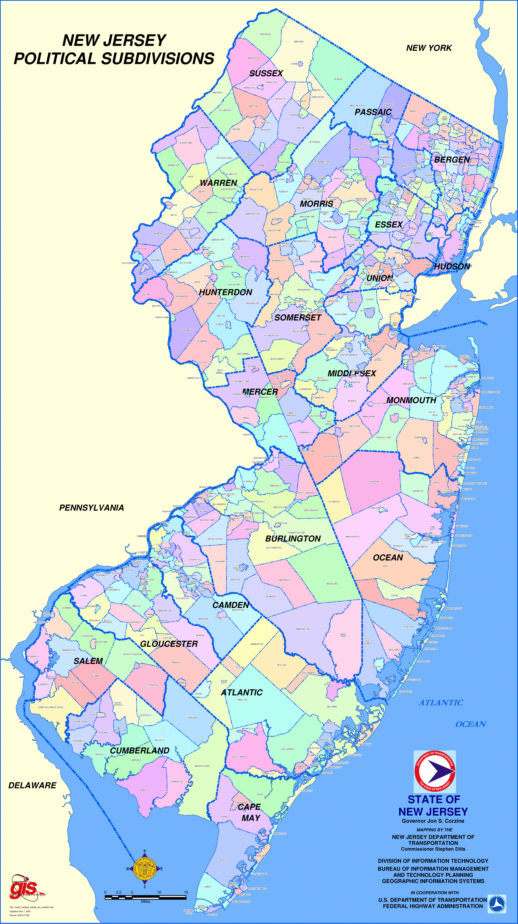 New Jersey Political Subdivisions Map