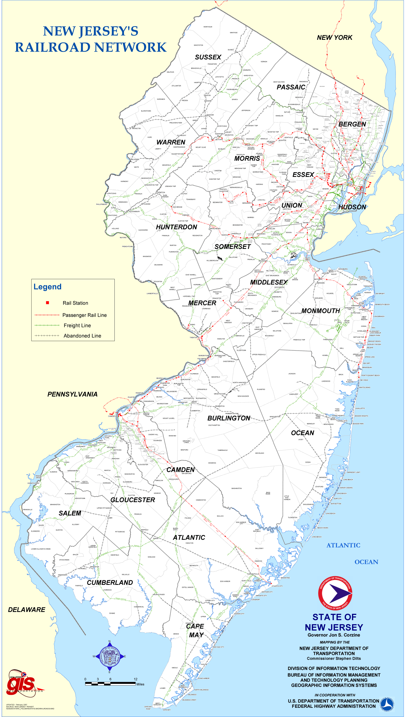New Jersey Rail Road Map