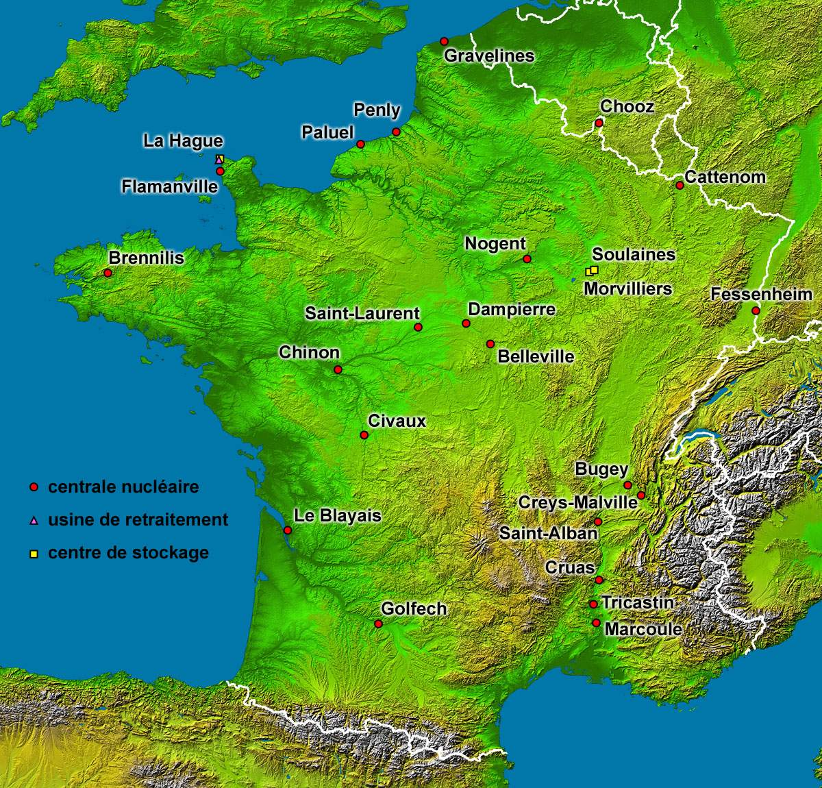 Nuclear Plants Map France