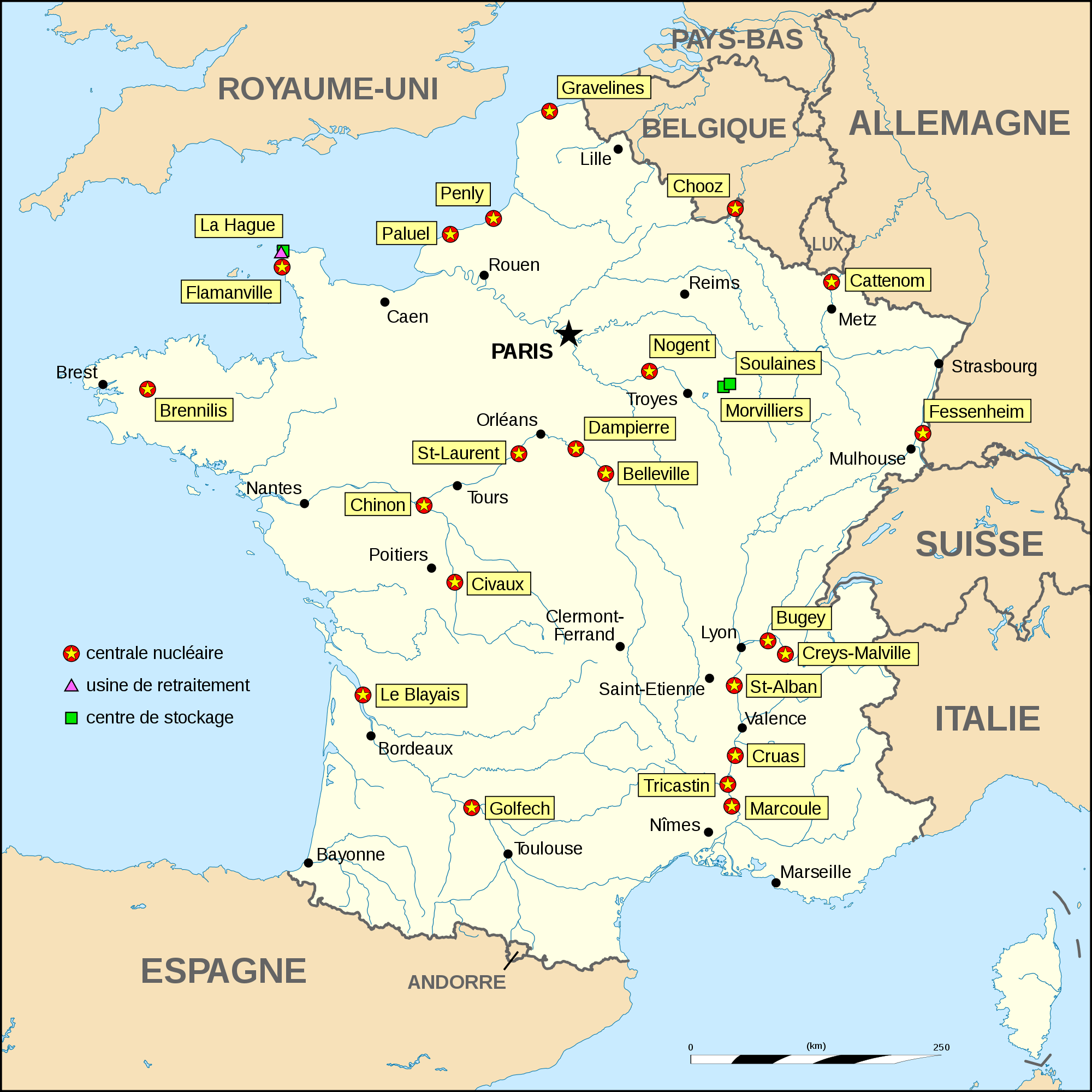 Nuclear Power Plants Map France
