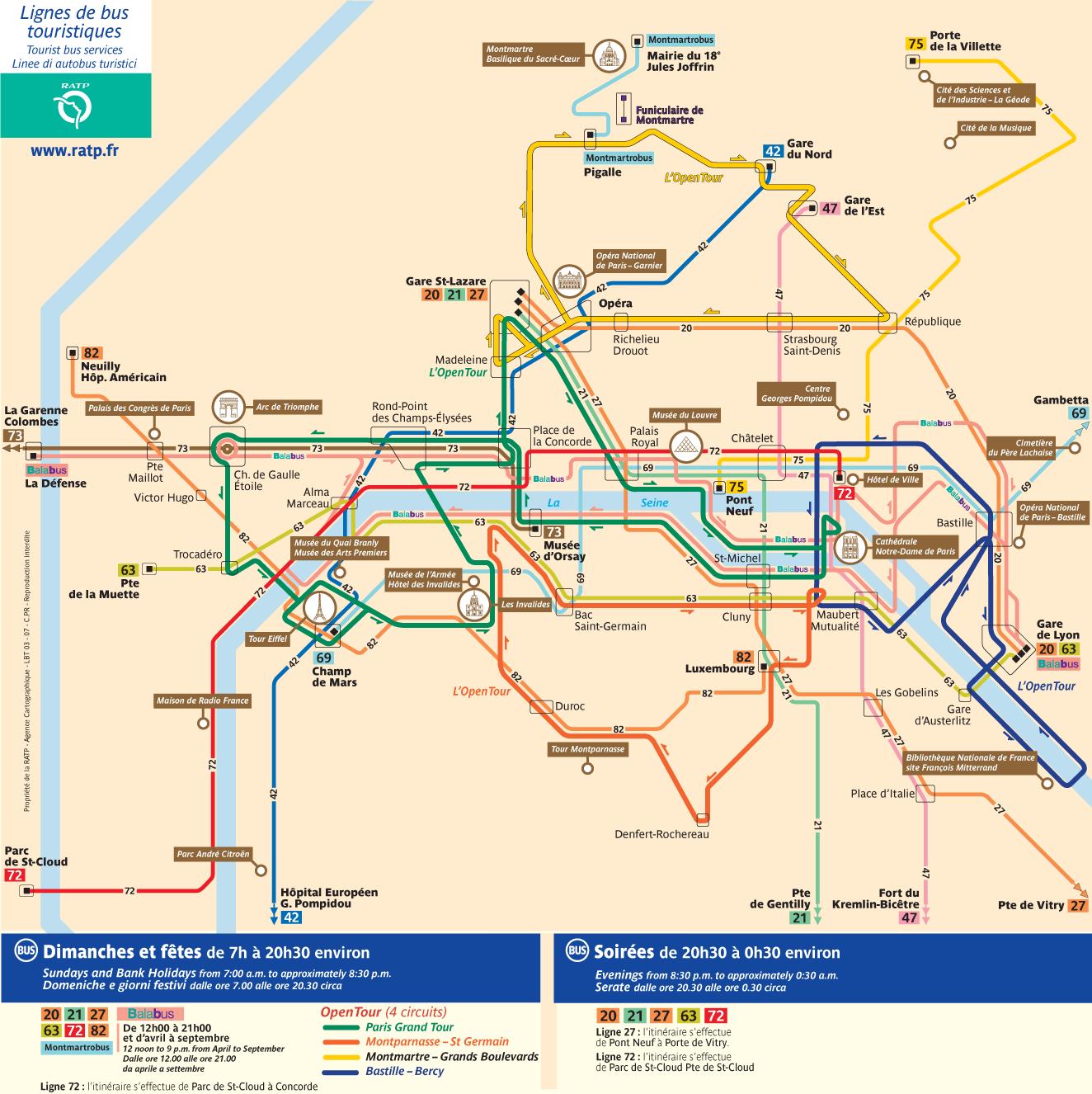 Paris Tourist Bus Map