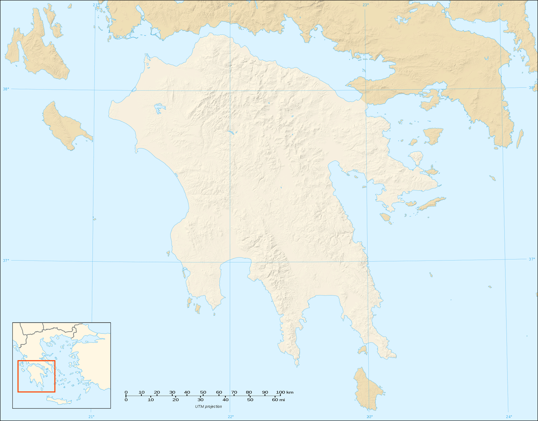 Peloponnese Map Shaded Relief Blank