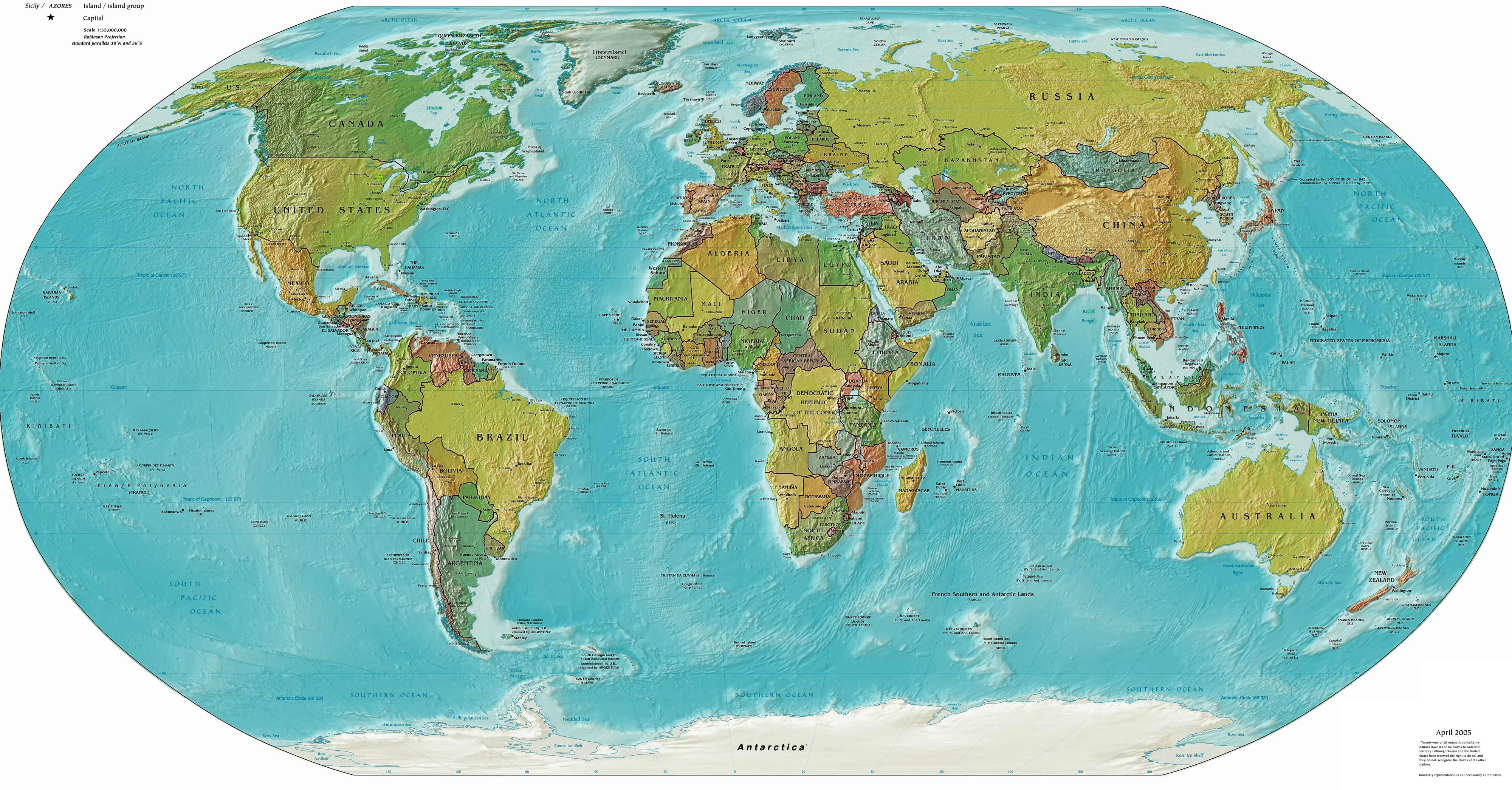 Political And Physical World Map